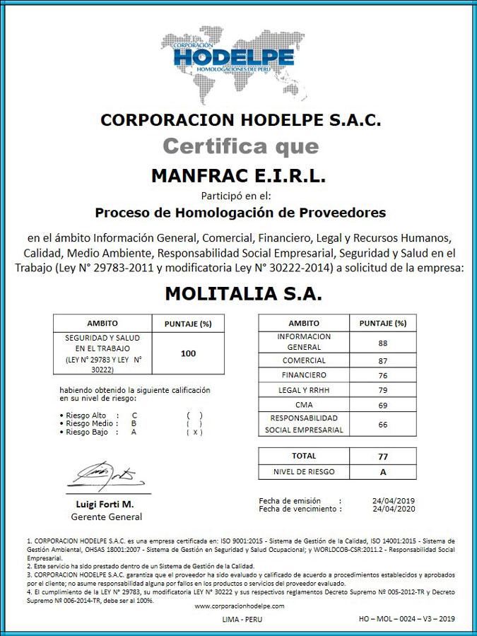 MANFRAC E.I.R.L